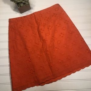 LOFT 2 Orange Eyelet Excellent Condition Skirt